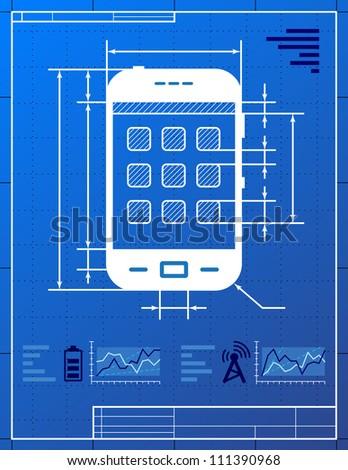 Smart phone like blueprint drawing. Stylized drawing of smart-phone on blueprint paper - stock vector