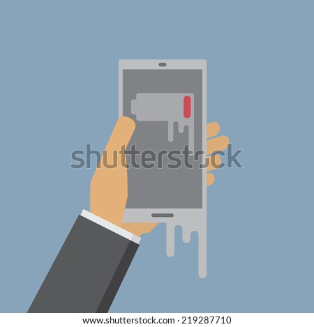 Smart Phone Low Battery - stock vector