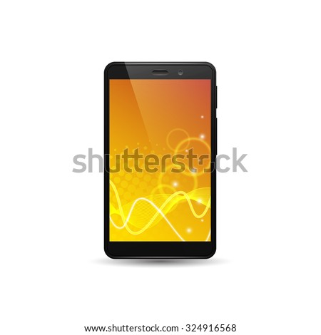 Smart phone, mobile phone isolated with abstract vector wallpaper, halftone effect, glowing lines and bubbles. - stock vector