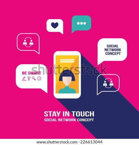 Smart phone mobile with avatar on its screen and speech bubbles. Communication, social network concept. Vector illustration - stock vector