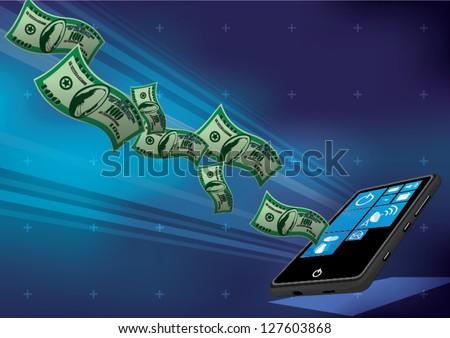 smart phone money earning - stock vector