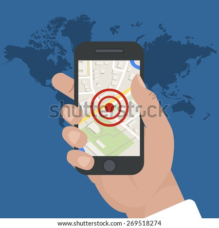 smart phone navigation - mobile gps concept: location app on touchscreen smartphone, on world map background, falat style. vector illustrations - stock vector