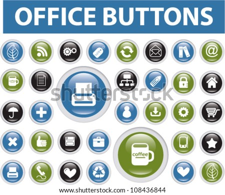smart-phone & office buttons set icons - stock vector