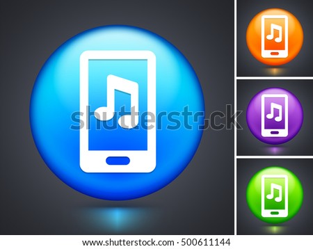 Smart phone on Blue Round Button