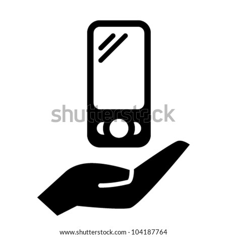 Smart phone on hand icon - stock vector