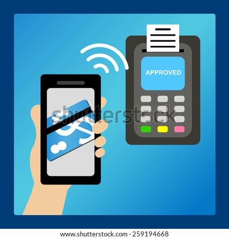 Smart phone pay money with processing of protected mobile payments from credit card nfc technology communication concept - stock vector
