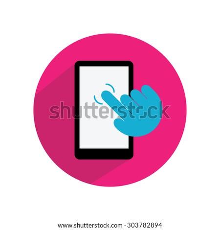 Smart phone, right hand, finger clicking vector, flat design, long shadow - stock vector