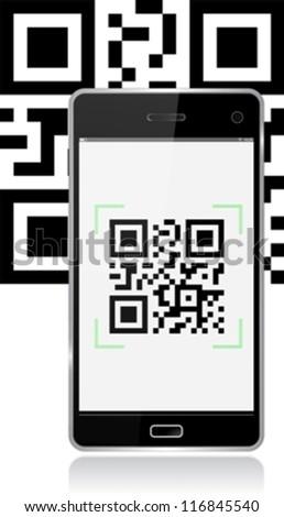 Smart phone scanning qr code eps10 - stock vector