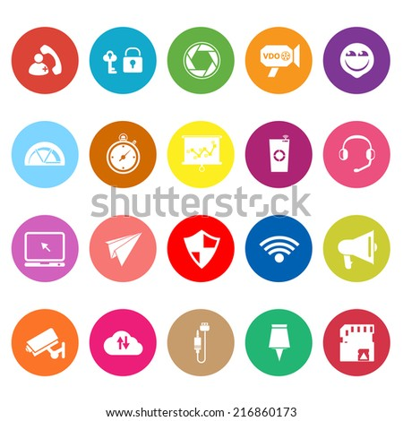 Smart phone screen flat icons on white background, stock vector