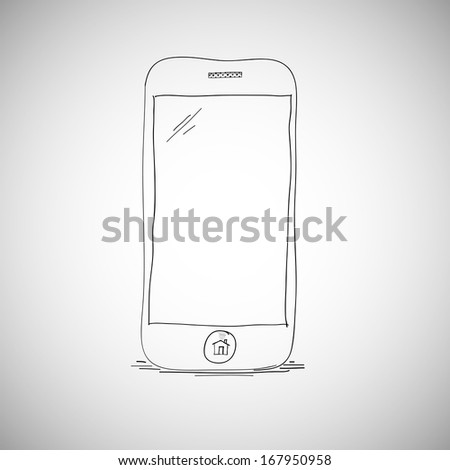 Smart phone sketch. Hand drawn illustration, mobile doodle - stock vector