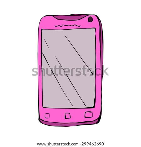Smart phone - sketch illustration in vector - stock vector