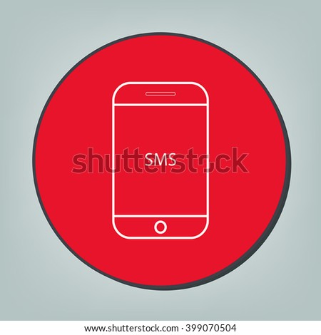 Smart phone sms icon in red circle. - stock vector