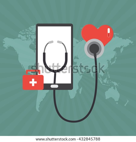 Smart phone tablet and red bag with white cross and stethoscope heart online diagnosis concept of telemedicine and telehealth technology. Vector illustration healthcare concept design.
