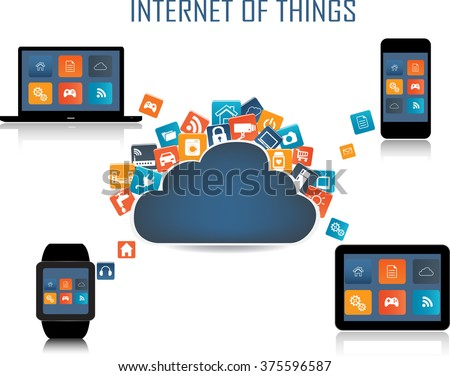 Smart phone, Tablet, Laptop, Smart watch and Internet of things concept. Smart Home Technology Internet networking concept. Internet of things cloud with apps. Cloud Apps