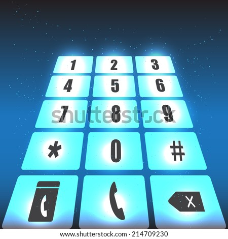 Smart phone Touch/Numeric Keypad Icon on Abstract Blue Background. Vector Illustration.  - stock vector