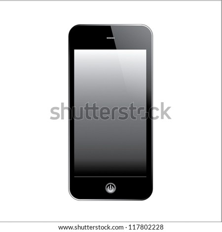 Smart phone touch screen. Isolated on white. - stock vector