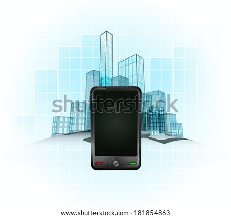 smart phone use in modern office city district vector concept illustration