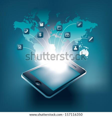 Smart Phone Vector Illustration with icons and World Map | EPS10 Design - stock vector