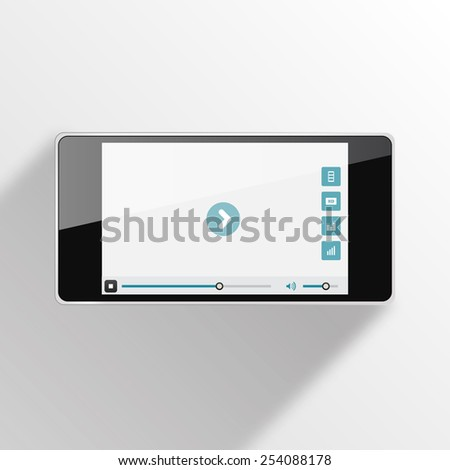 Smart Phone Video Player with long shadow - Vector illustration - multiple views of a smart phone with video player interface. - stock vector
