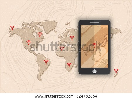 smart phone wifi hot-spot sign map illustration vector background