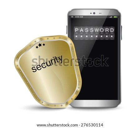 Smart phone with a protective shield - stock vector