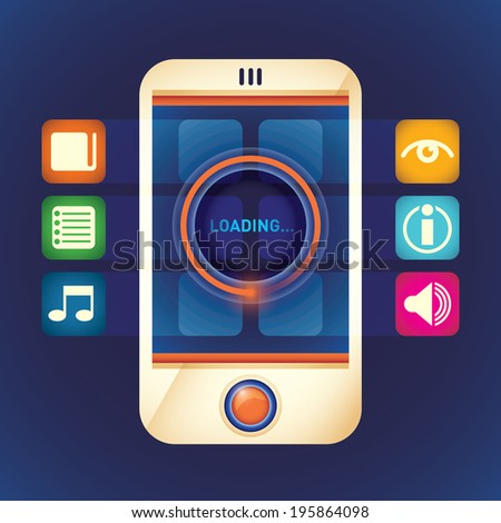 Smart phone with applications. Vector illustration. - stock vector