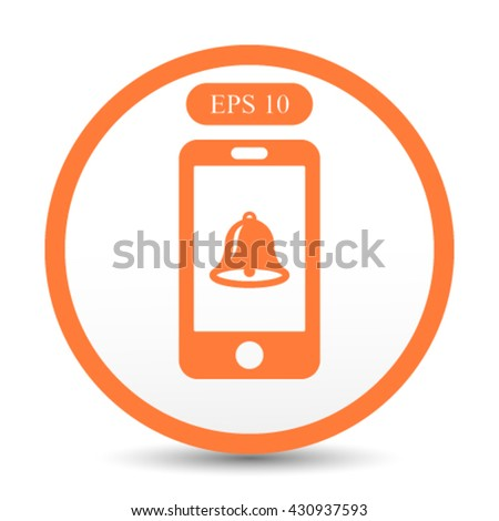 smart phone with bell icon in the middle vector illustration