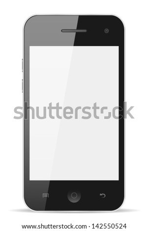 Smart phone with blank screen isolated on white background, vector eps10  - stock vector