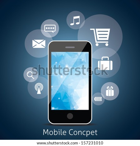 Smart Phone with Cloud of Media Application Icons. - stock vector