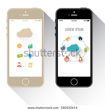 Smart phone with cloud template. - stock vector