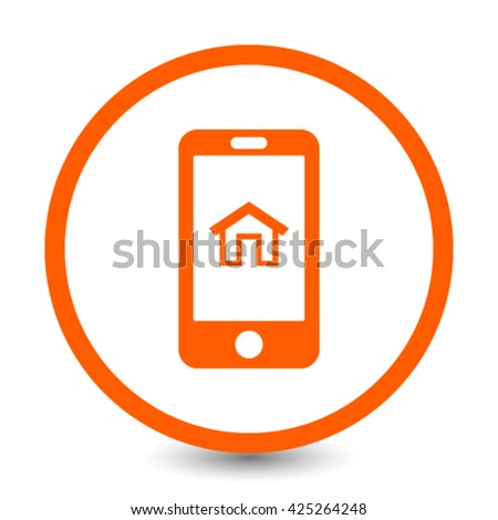 smart phone with home icon in the middle vector illustration
