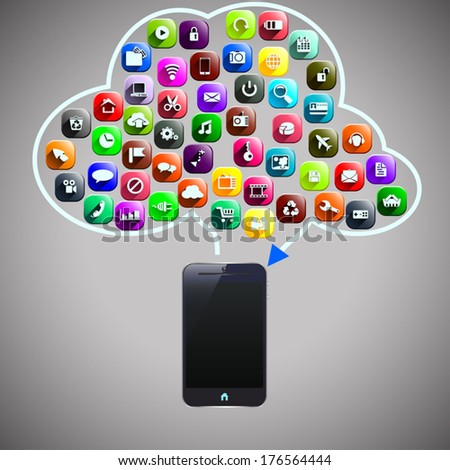 smart phone  with icons and cloud computing