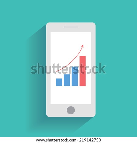 Smart phone with increasing bar chart on the screen. Using smartphone similar to iphone for business, flat design concept. Eps 10 vector. - stock vector