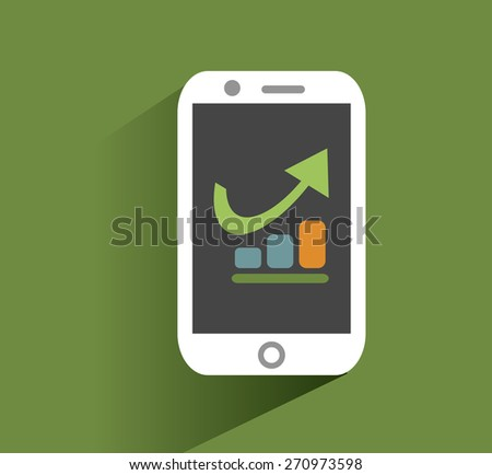 Smart phone with increasing bar chart on the screen. Using smartphone similar to iphone for business, flat design concept. Eps 10 vector.