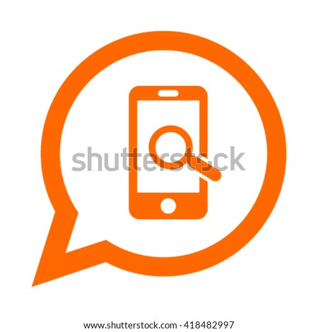Smart phone with magnifier vector icon
