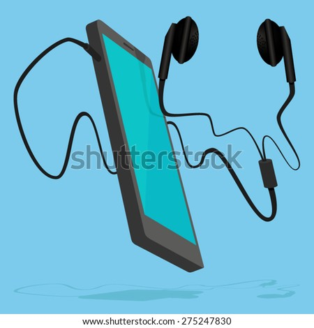 Smart phone with pair of earphone - stock vector