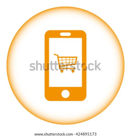 smart phone with shopping cart icon in the middle vector illustr