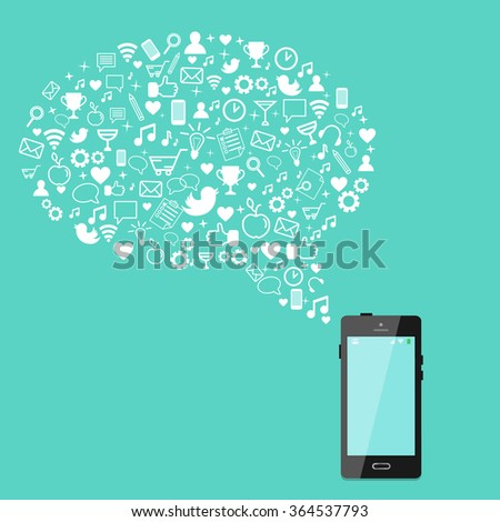 Smart phone with speech bubble shape made from line icons. Internet, communication, business, work, lifestyle, app development concept. Vector illustration.