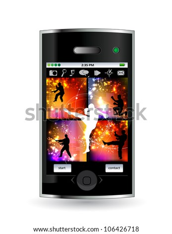 Smart phone with sport game - stock vector