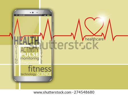 Smart phone with the words health as concept - stock vector