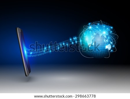 Smart Phones and Globe Connections Design.vector - stock vector