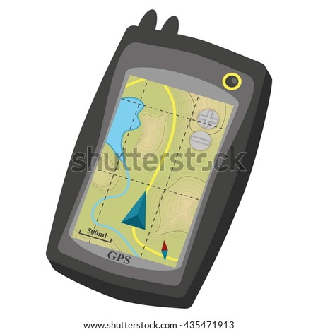 Smart Phones with GPS Navigation Application. Eps10 vector illustration. Isolated on white background