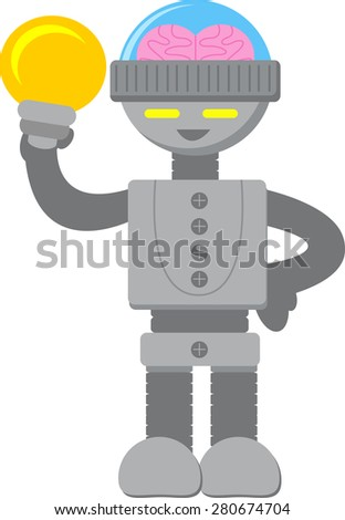 Smart Robot with Bulb Lamp - stock vector