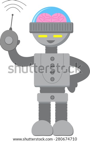 Smart Robot with Remote Control - stock vector