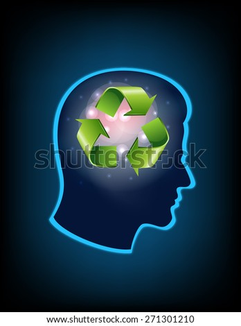 smart thinking to recycle - stock vector