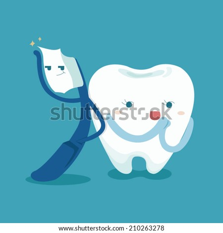Smart toothbrush and cute tooth  - stock vector