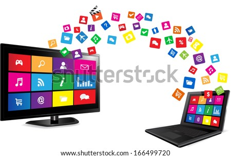 Smart TV and laptop with apps Colorful application icons on white background