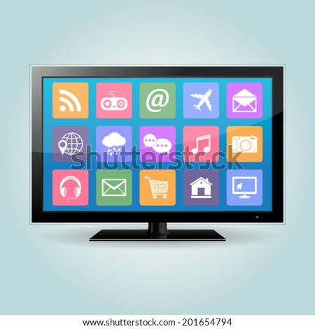 Smart TV with apps icons - stock vector