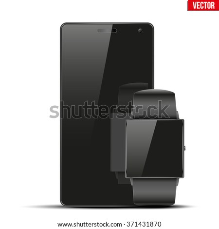 Smart watch and touchscreen smart phone. Mock-up design. Vector Illustration isolated on white background