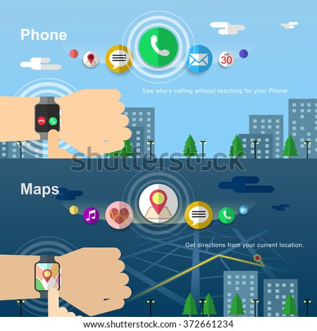 smart watch banners design in flat style - stock vector